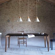 Decapo - Tavolo Miniforms in legno, piano in vetro, diverse dimensioni disponibili