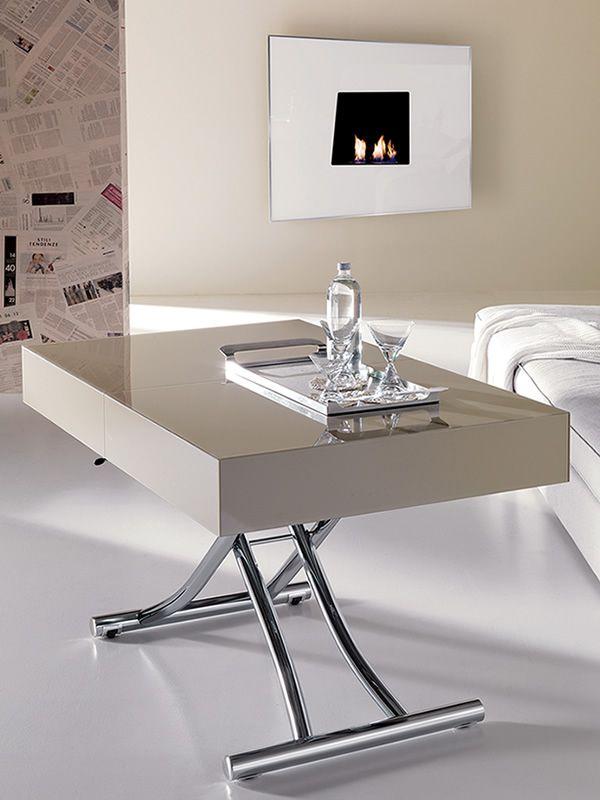Box - Tavolo trasformabile in metallo, piano in cristallo o ceramica ...