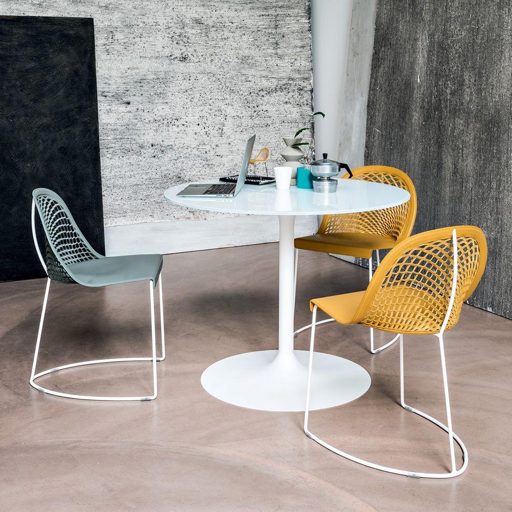 Infinity tavolo fisso midj in metallo piano tondo in vetro o melaminico diverse misure - Tavolo con sedie diverse ...