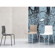 Alice V chair 2675 - Moderner Stapelstuhl aus Metall und Technopolymer, auch für Garten
