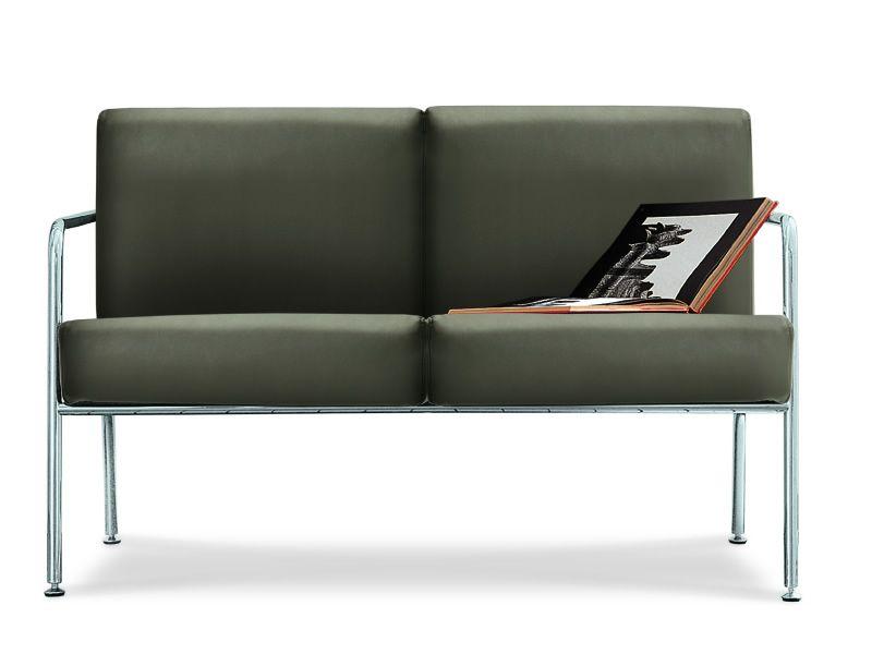 Billy 2 divano moderno midj in metallo e pelle - Divano due colori ...
