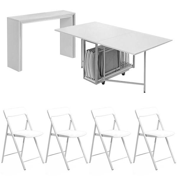 Archimede zeta set set consolle con tavolo pieghevole for Tavolo consolle con sedie