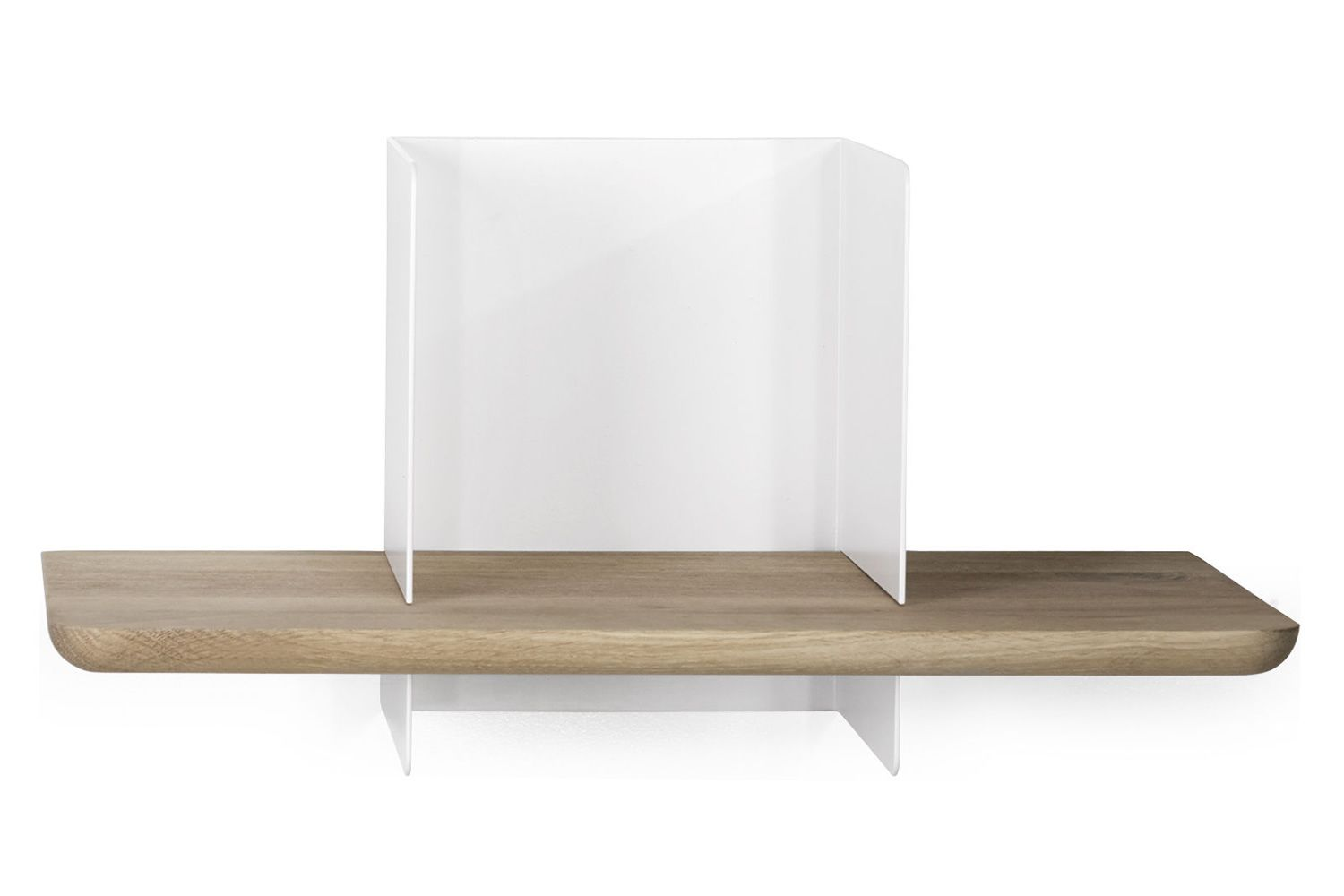 Clip | Shelf made of oak and white lacquered metal (S size)