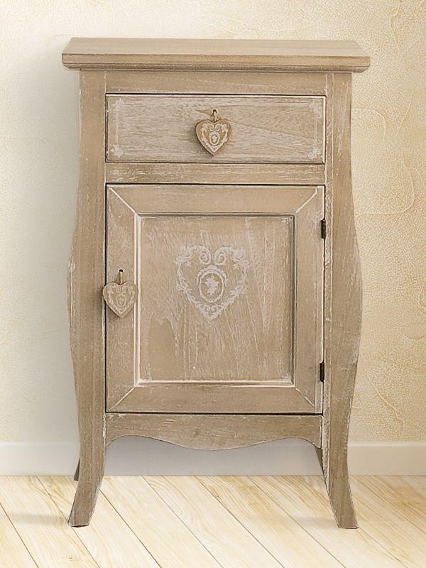 Ustica mobiletto shabby chic in legno 46x34 cm altezza 72 cm sediarreda - Mobiletti per bagno shabby ...
