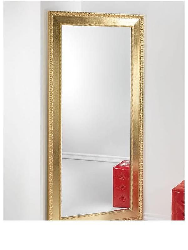 Flat l wooden mirror with inlaid frame silver or gold for Miroir 70x170