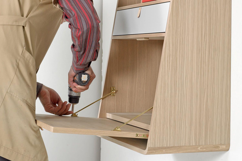 Gaston: Wall secretary desk in wood, with folding table ... - photo#50