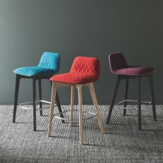 CB1488 Sami - Connubia - Calligaris wooden stool, seat covered with fabric in several colours, seat height 65 cm