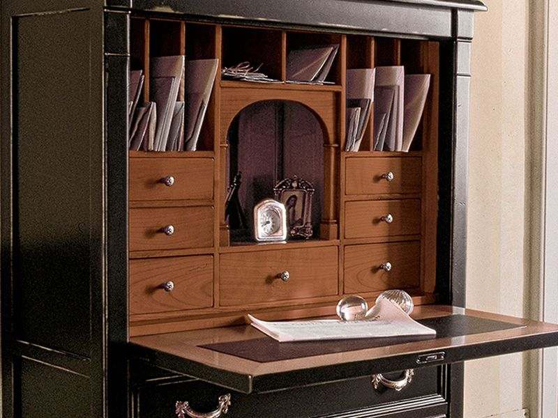 orion 1494 klassischer sekret r tonin casa aus holz mit klappt r und schubladen in. Black Bedroom Furniture Sets. Home Design Ideas