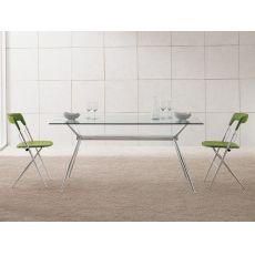 Brioso - Tavolo fisso Midj in metallo, piano in vetro, diverse misure