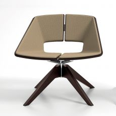 Hug W - Infiniti swivel armchair in ash wood, seat and backrest in wood with covering