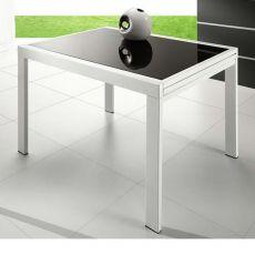 VR120 - Tavolo metallo 120x90 allungabile, piano vetro