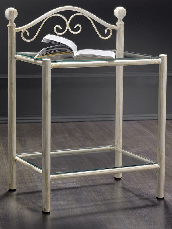 romanza d: iron bedside table with glass tops, multifaceted
