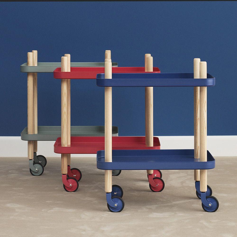 block chariot normann copenhagen en m tal et bois en diff rentes couleurs pourvu de roulettes. Black Bedroom Furniture Sets. Home Design Ideas