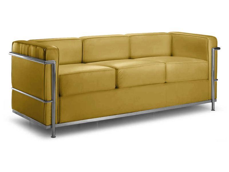 Ml160 3p divano design a 3 posti in pelle o ecopelle for Divano due posti ecopelle