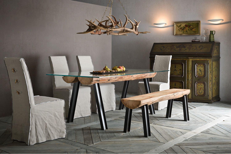 Anfide p panca di design con struttura in acciaio e seduta in legno sediarreda - Panche per ingresso casa ...