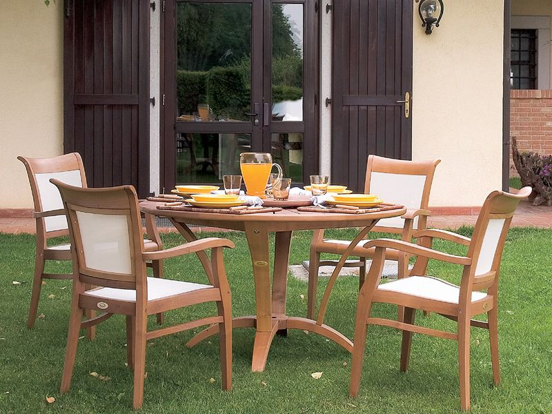 Meuble cuisine dimension table jardin robinier - Table de jardin ronde robin naterial ...