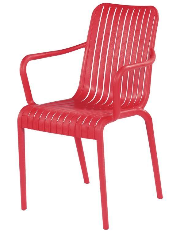Open chaise avec des accoudoirs en technopolym re - Chaise de jardin rouge ...