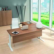 Idea Tube 01 - L-shaped desk for office, with peninsula and drawers, in metal and laminate, available in different dimensions