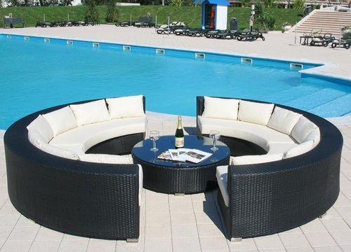 Atollo outdoor garden set with two semicircular sofas - Lit sofa rond exterieur ...