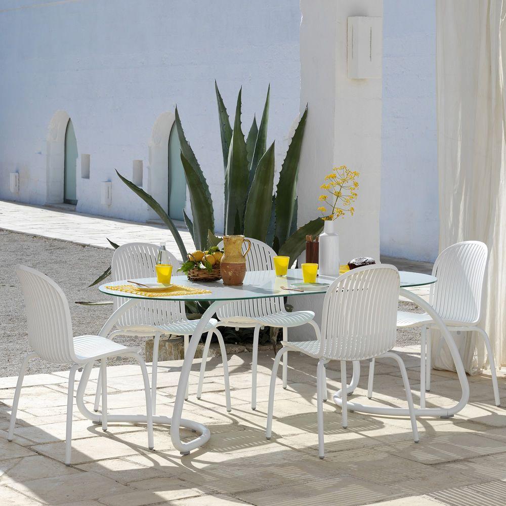 loto dinner r table en m tal plan de travail ovale 190 x 100 cm ou rond 120 ou 170 cm sediarreda. Black Bedroom Furniture Sets. Home Design Ideas