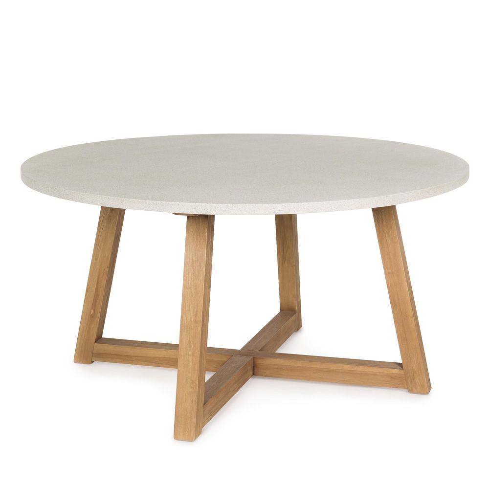 Sila t mesa de teca con sobre en fibra de cristal - Mesa de teca ...