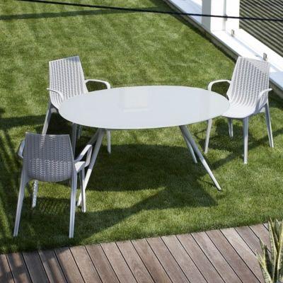 metropolis 2402 moderner metalltisch ovale glasplatte. Black Bedroom Furniture Sets. Home Design Ideas