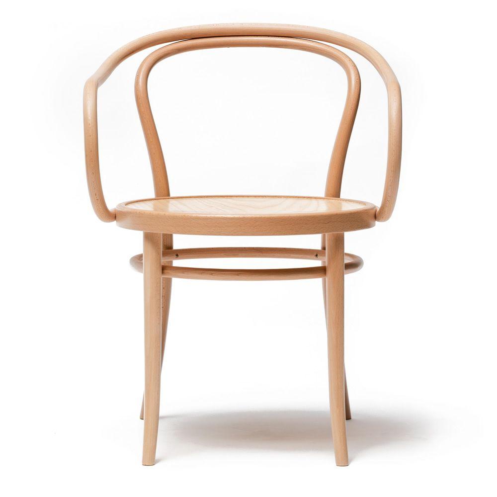Chair 30 sedia ton in legno con braccioli sediarreda for Sedia design legno curvato