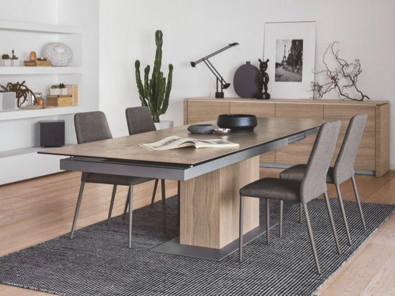 cb4087 sincro table connubia calligaris en bois plateau en verre ou c ramique 180 x 100 cm. Black Bedroom Furniture Sets. Home Design Ideas