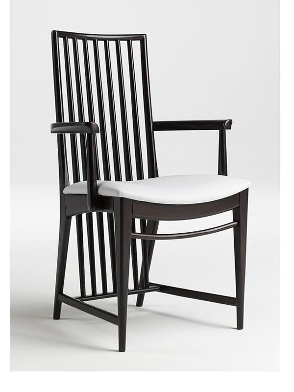 Nova b - Sedia in legno con braccioli, seduta in ecopelle ...
