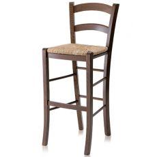199 - A PROMO - Sgabello alto rustico in legno, sedile in paglia, altezza 73 cm