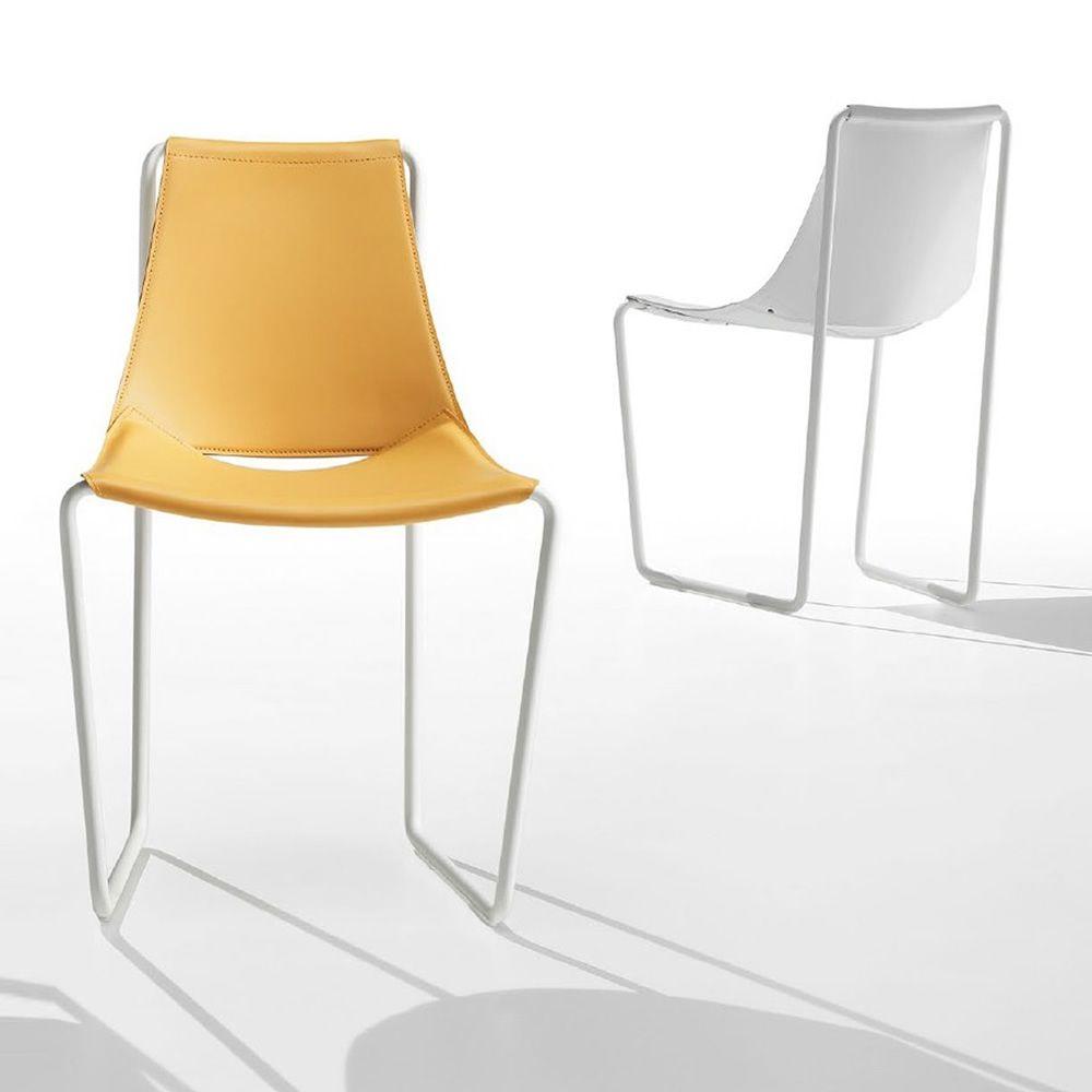 Apelle s chaise midj en m tal et cuir naturel sediarreda - Chaise metal et cuir ...