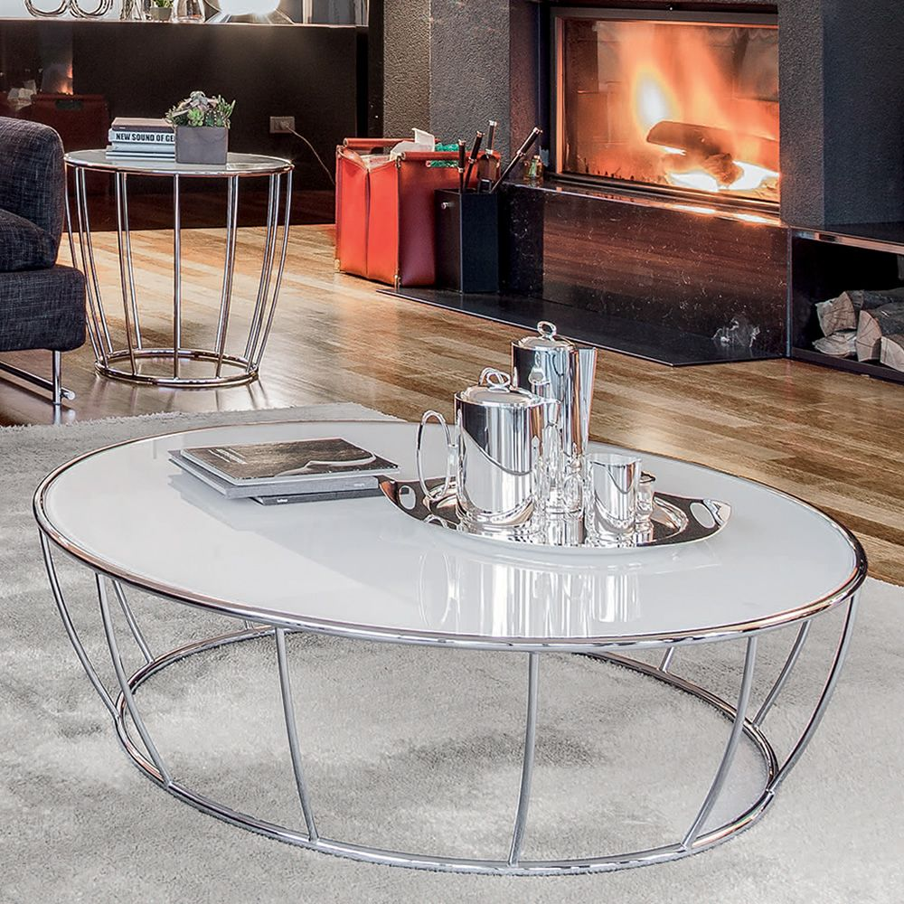 Amburgo 6287 Tonin Casa Round Metal Coffee Table Glass Top Diameter 100 Cm Sediarreda Online