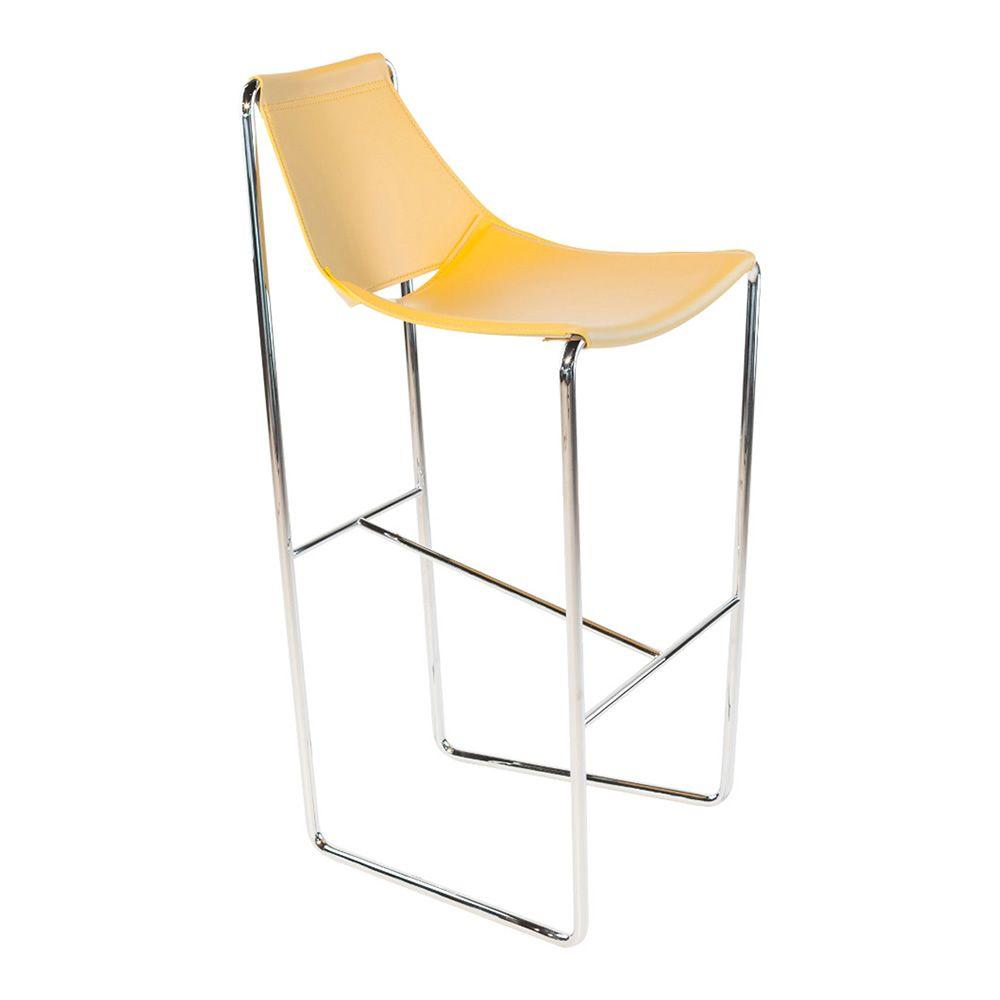 Sgabello Cuoio Design Apelle Midj : Apelle h sgabello midj in metallo e cuoio naturale