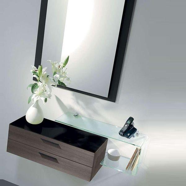 Flexi mobile da ingresso con specchio due cassetti e mensola in vetro sediarreda - Specchio con mensola per ingresso ...