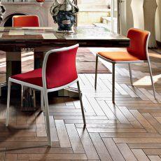 Audrey Soft - Sedia Kartell di design, in alluminio con seduta e schienale imbottiti, impilabile, disponibile in diverse finiture, tessuti e colori