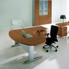 Idea System 02 - Scrivania per ufficio con penisola e cassettiera, in metallo e laminato, disponibile in diverse dimensioni e finiture