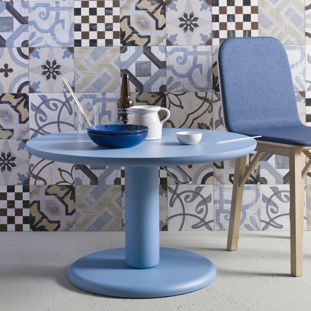 Maciste tavolo tondo miniforms in mdf piano fisso o - Tavolo regolabile in altezza ...
