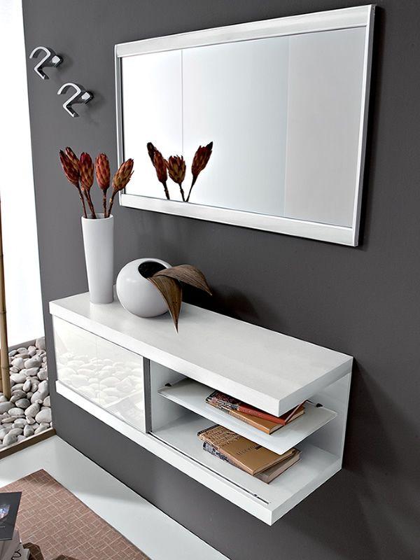 Pa243 mueble de entrada con espejo y percheros for Mueble perchero entrada