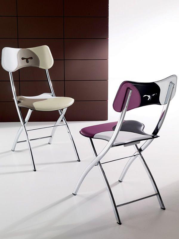 opl chaises empilables en m tal assise et dossier en cuir patchwork. Black Bedroom Furniture Sets. Home Design Ideas