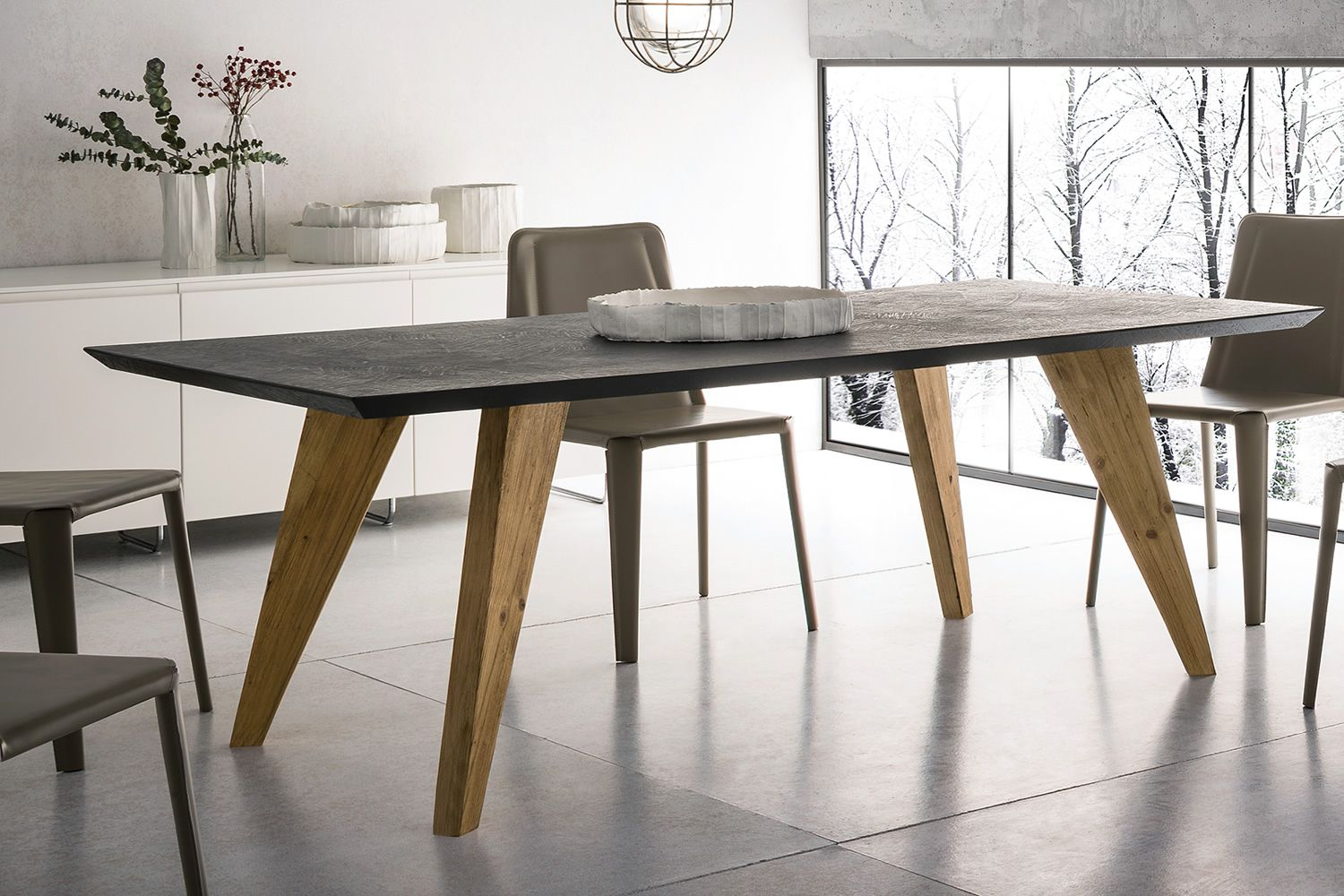 Artemidoro design wooden table 160x90 cm fixed top in for Moderne holztische