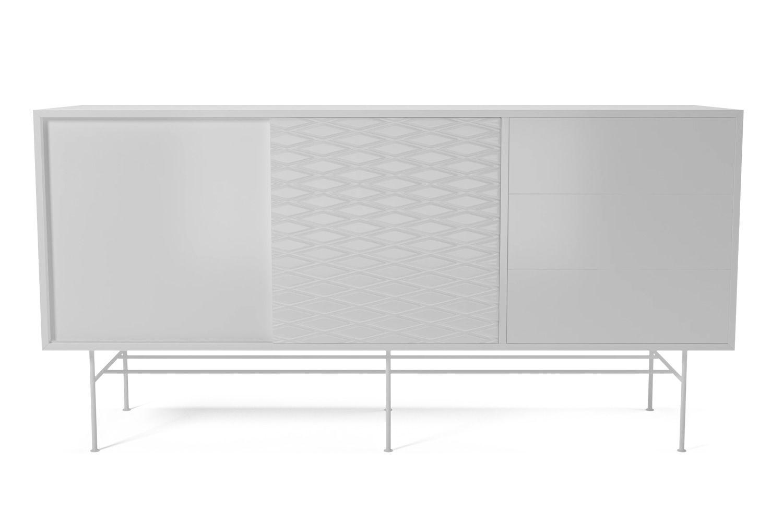 Case aparador de madera y metal con puertas corredizas for Puertas corredizas de metal
