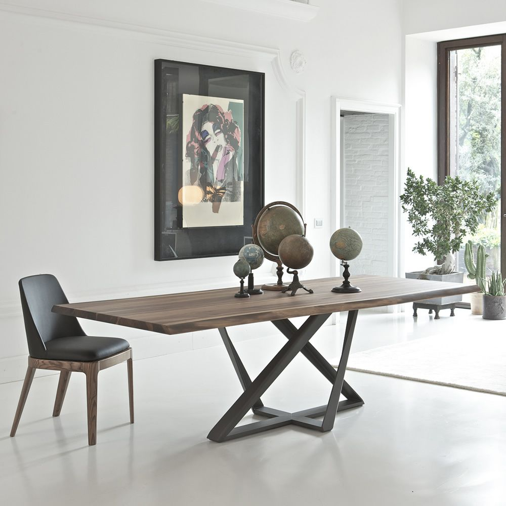 millennium design table bontempi casa  x  fixed with  - millennium  table with pedestral in anthracite grey colour and solidwalnut wood top