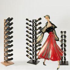 Zia Gaia C - Portabottiglie a colonna con mensole orizzontale, in legno massello, disponibile in diverse dimensioni e colori