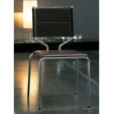 Lisboa - Sedia impilabile Midj in metallo con seduta in rigenerato di cuoio, diversi colori disponibili