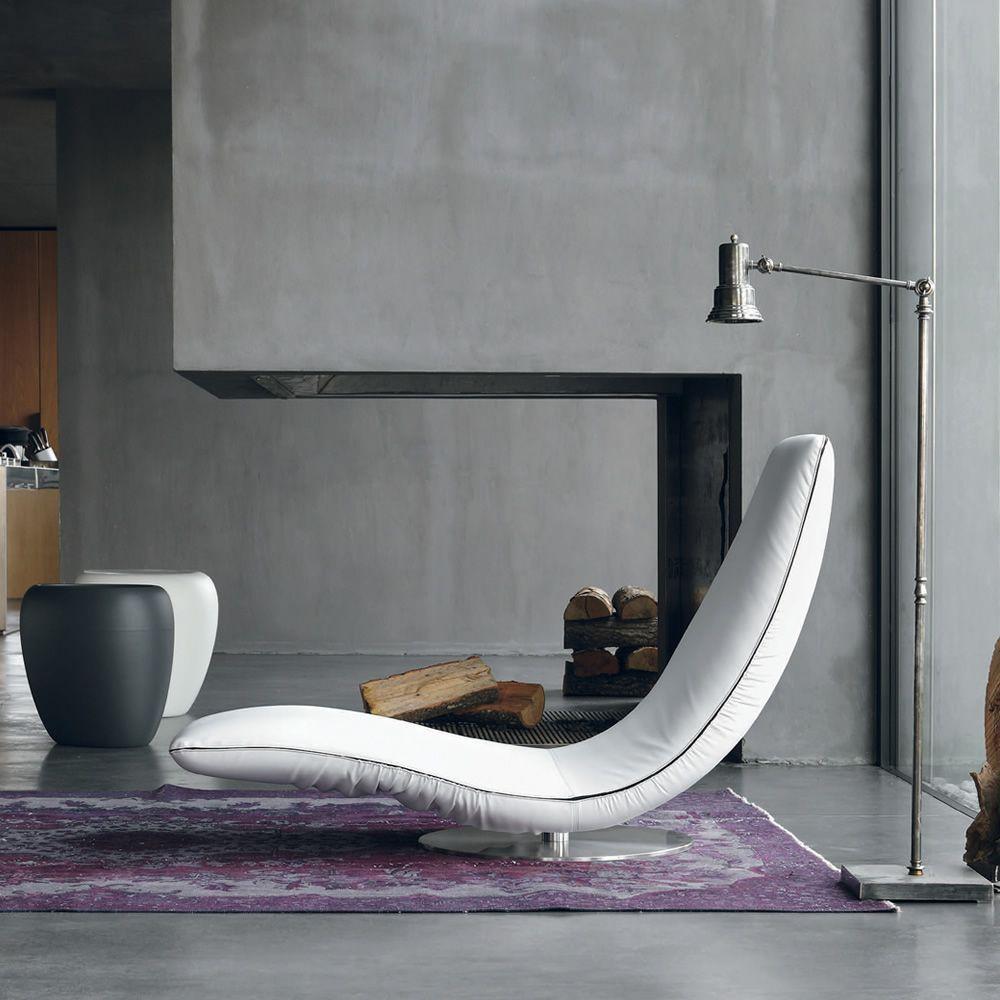 ricciolo 7865 fauteuil chaise longue revtu en cuir blanc - Fauteuil Chaise Longue