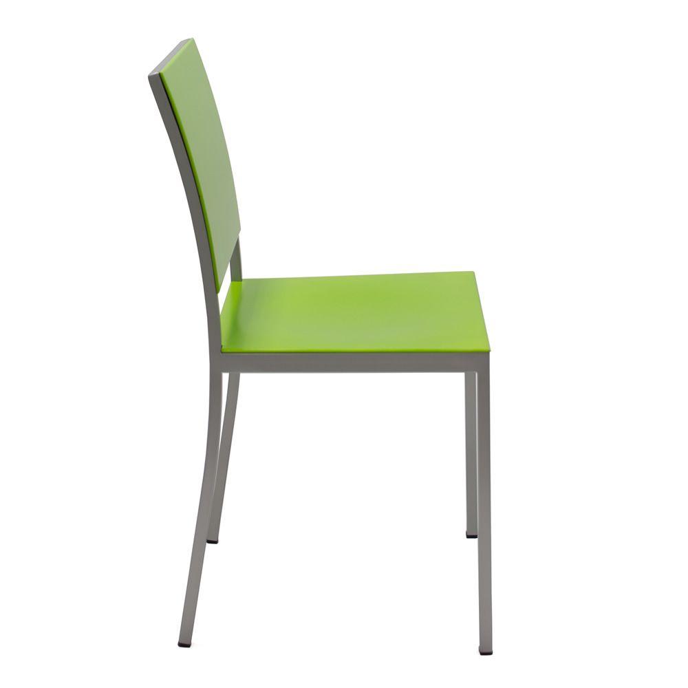 372 chaise en m tal avec assise et dossier en bois multiplis laqu vert sediarreda. Black Bedroom Furniture Sets. Home Design Ideas