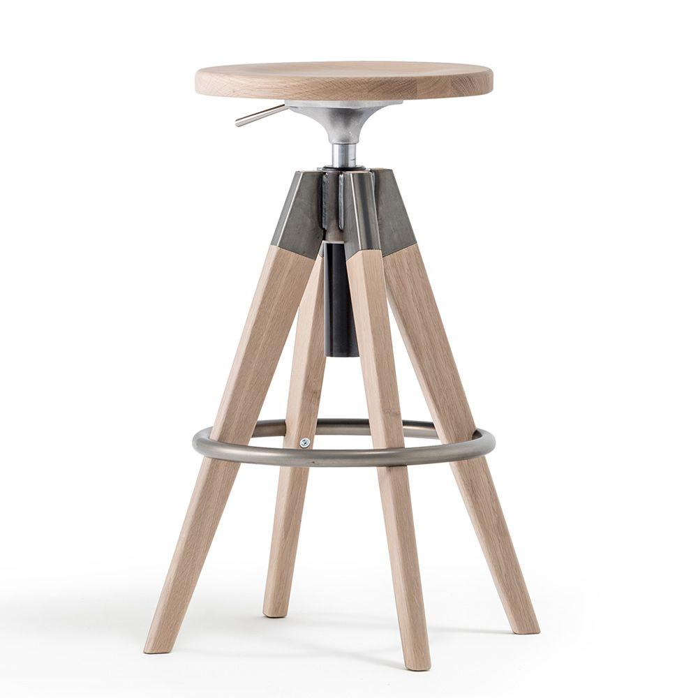 Arki-Stool | Sgabello in legno di rovere con dettagli in acciaio verniciato trasparente
