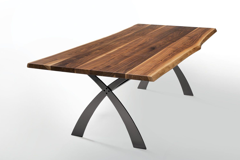 Portofino t tavolo fisso midj in metallo e massello di - Tavolo in noce massello ...