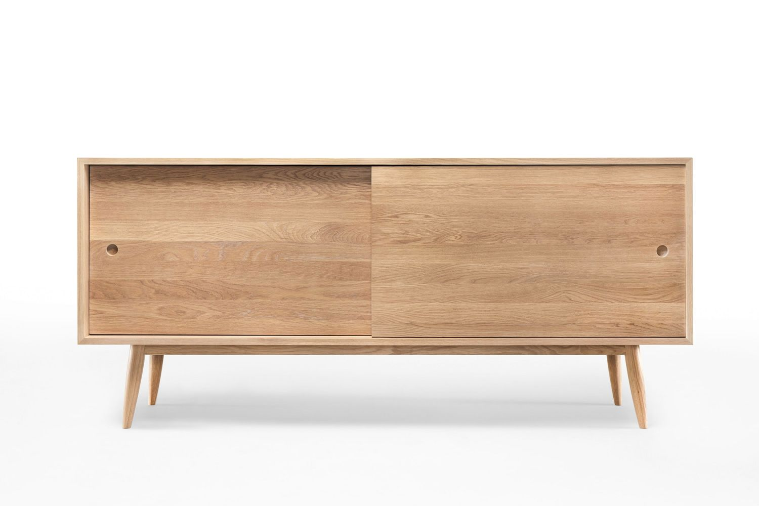 Oak Wooden Sideboard With Sliding Doors Shelves And Drawers