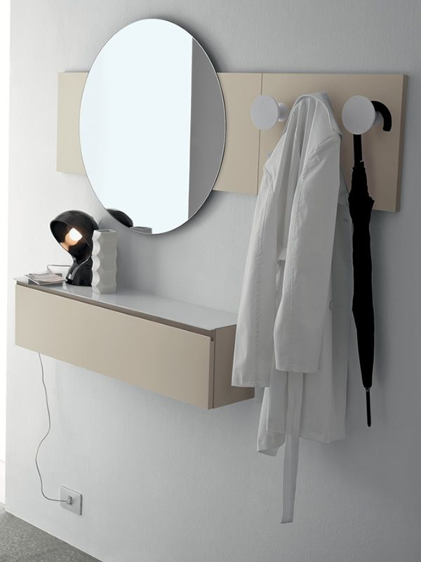 Logika 3 meuble entr e avec miroir et crochets en for Meuble entree suspendu